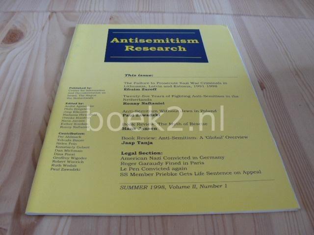 EDITORS - Antisemitism Research Summer 1998