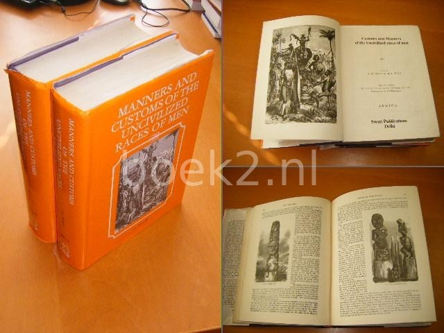 WOOD, J.G. - Manners and Customs of the Uncivilisized races of men. With new designs by Angas, Danby, Wolf, Zwecker, etc. etc. Engraved by the brothers Dalziel. Volume 1: Africa. Volume 2: Australia, New Zealand, Polynesia, America, Asia and Ancient