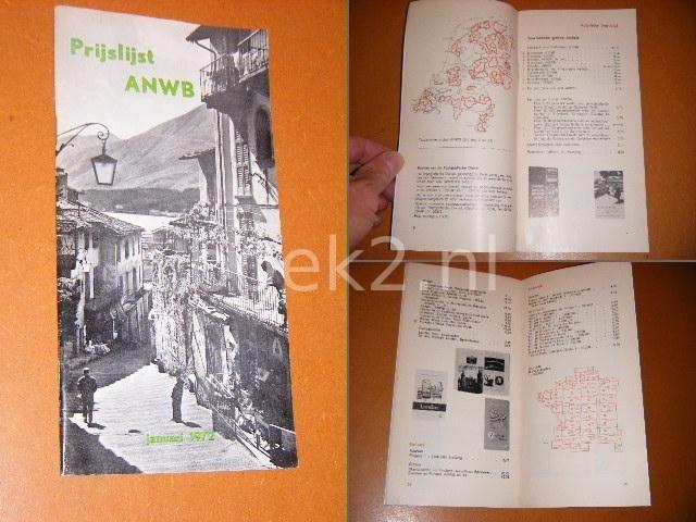 RED. - Prijslijst ANWB, januari 1972. Kaarten, Gidsen, Boeken, Voorwerpen.