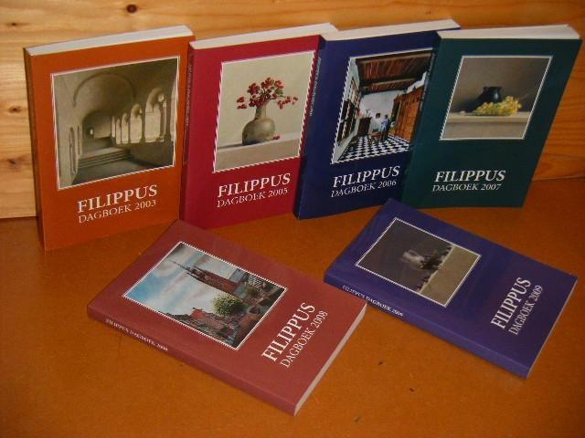 DIVERSE AUTEURS. - Filippus Dagboek: 2003 + 2005 + 2006 + 2007 + 2008 + 2009 [Set van 6 boeken]