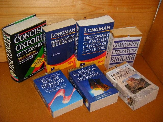 ED. - Companion to Literature in English + Dictionary of Phrase and Fable + The concise Dictionary of English Etymology + Dictionary of Science and Technology + Dictionary of English Language and Culture + Pronunciation Dictionary + The Concise Oxford Dictionary [Set van 7 boeken]