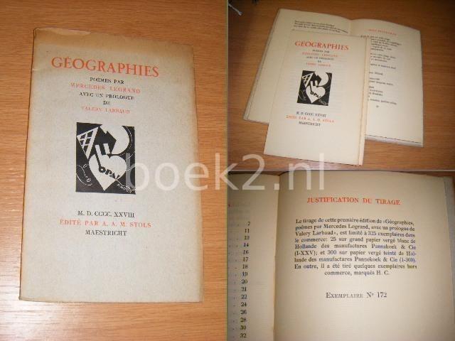 LEGRAND, MERCEDES - Geographies. Poemes avec un prologue de Valery Larbaud