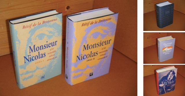 inkoop van tweedehands boeken, een voorbeeld het soort boeken dat wij graag inkopen. Op de foto ziet u een paar mooie gebonden edities met stofomslag, in dit geval essays, biografieën, literatuur.