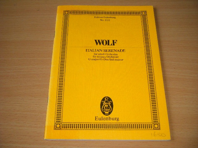 Hugo Wolf - Italian Serenade For Small Orchestra fur kleines Orchester G major/G-Dur/Sol majeur